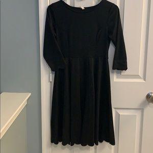 PinkBlush maternity Black Solid Scalloped Dress